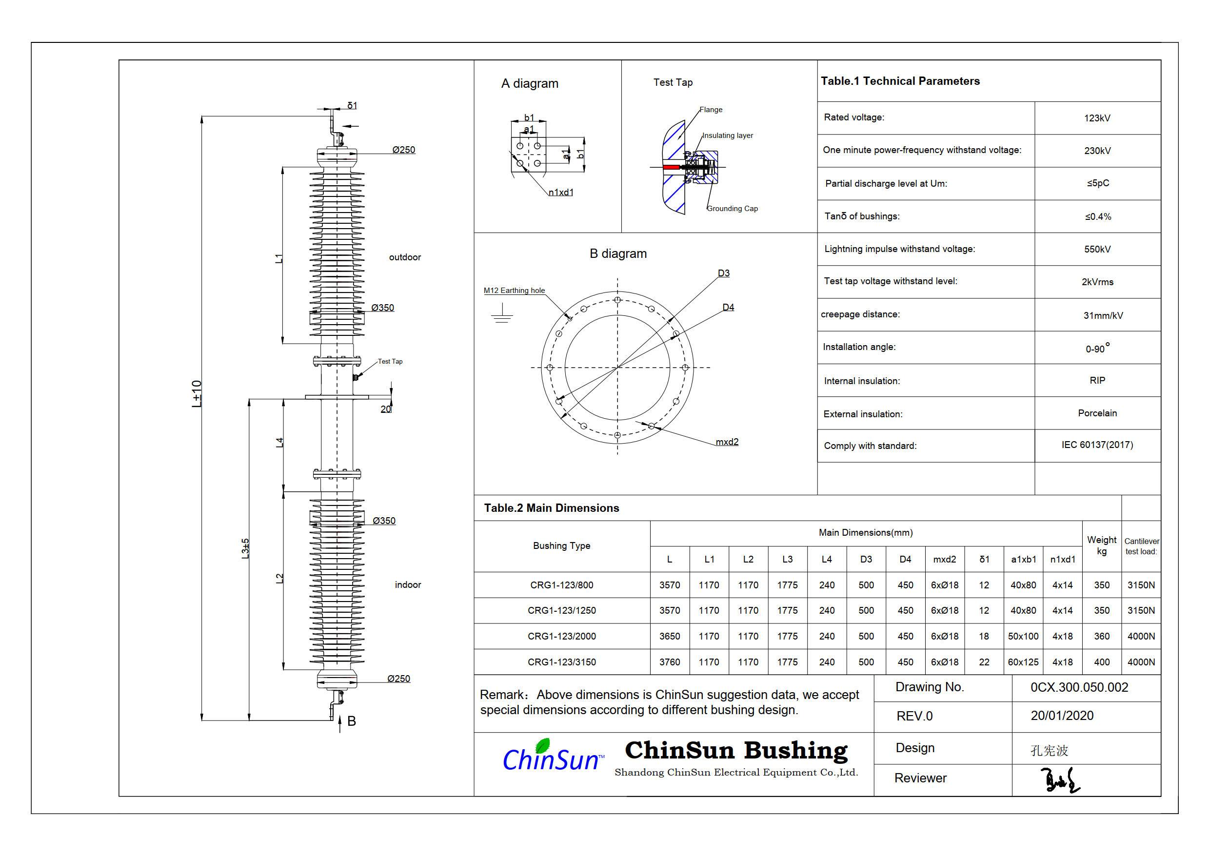 Drawing-wall bushing-123kV porcelain-ChinSun
