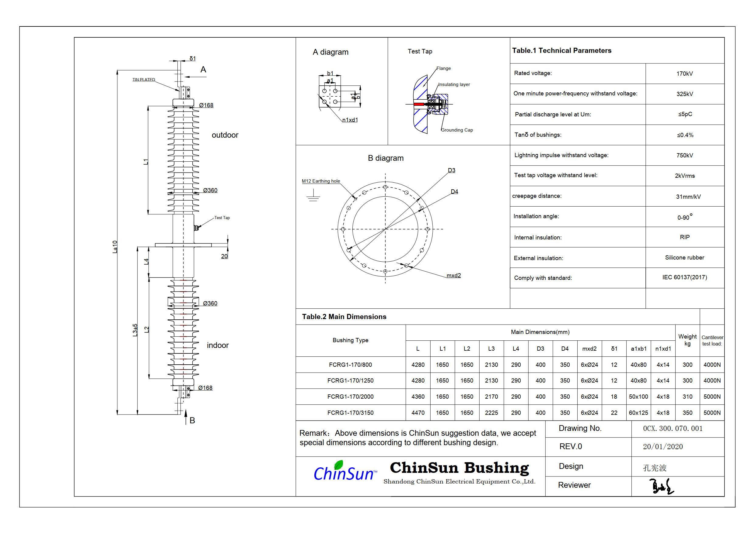 Drawing-wall bushing-170kV silicone rubber-ChinSun