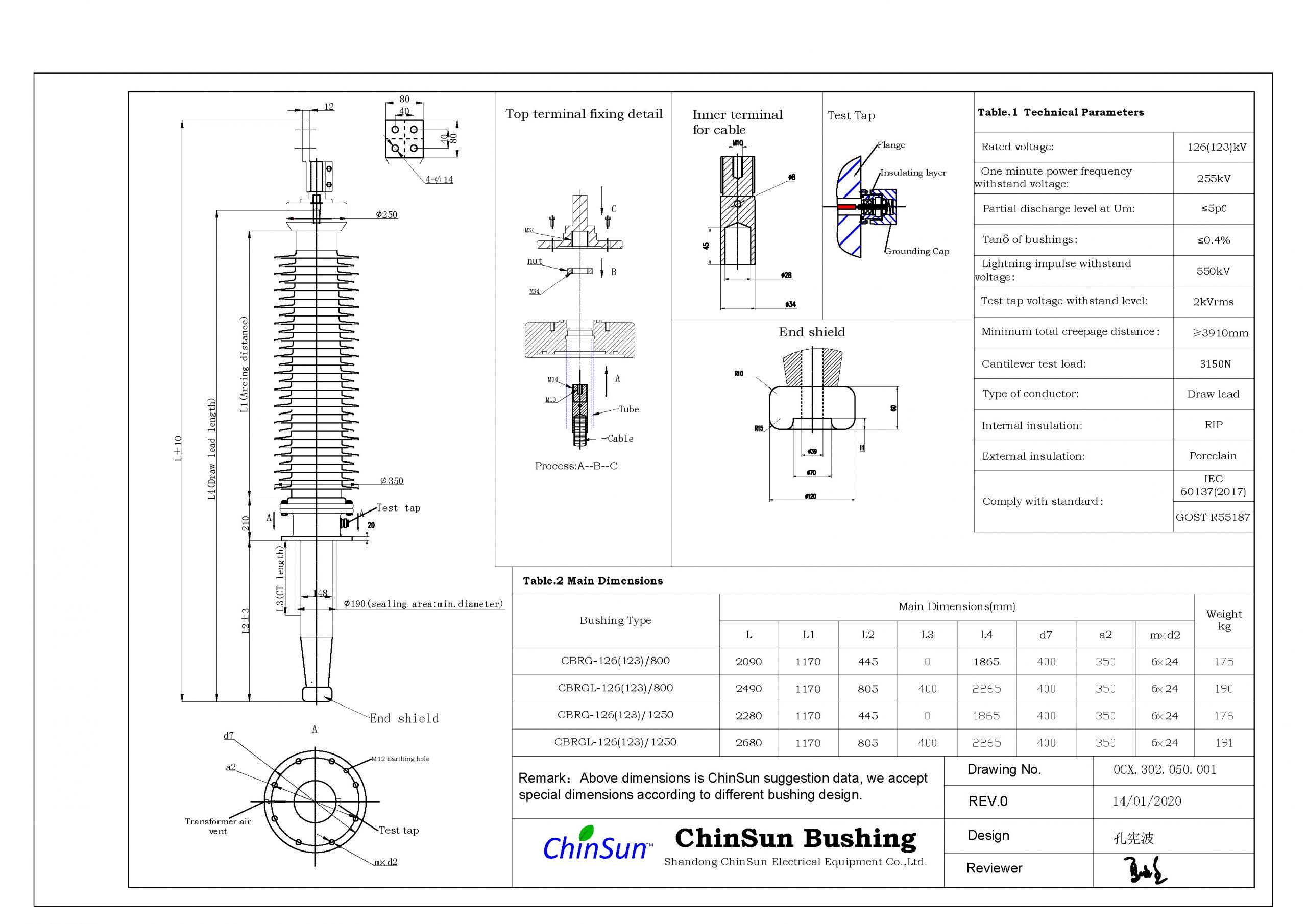 Drawing-transformer bushing-126(123)kV_Porcelain-DL-ChinSun