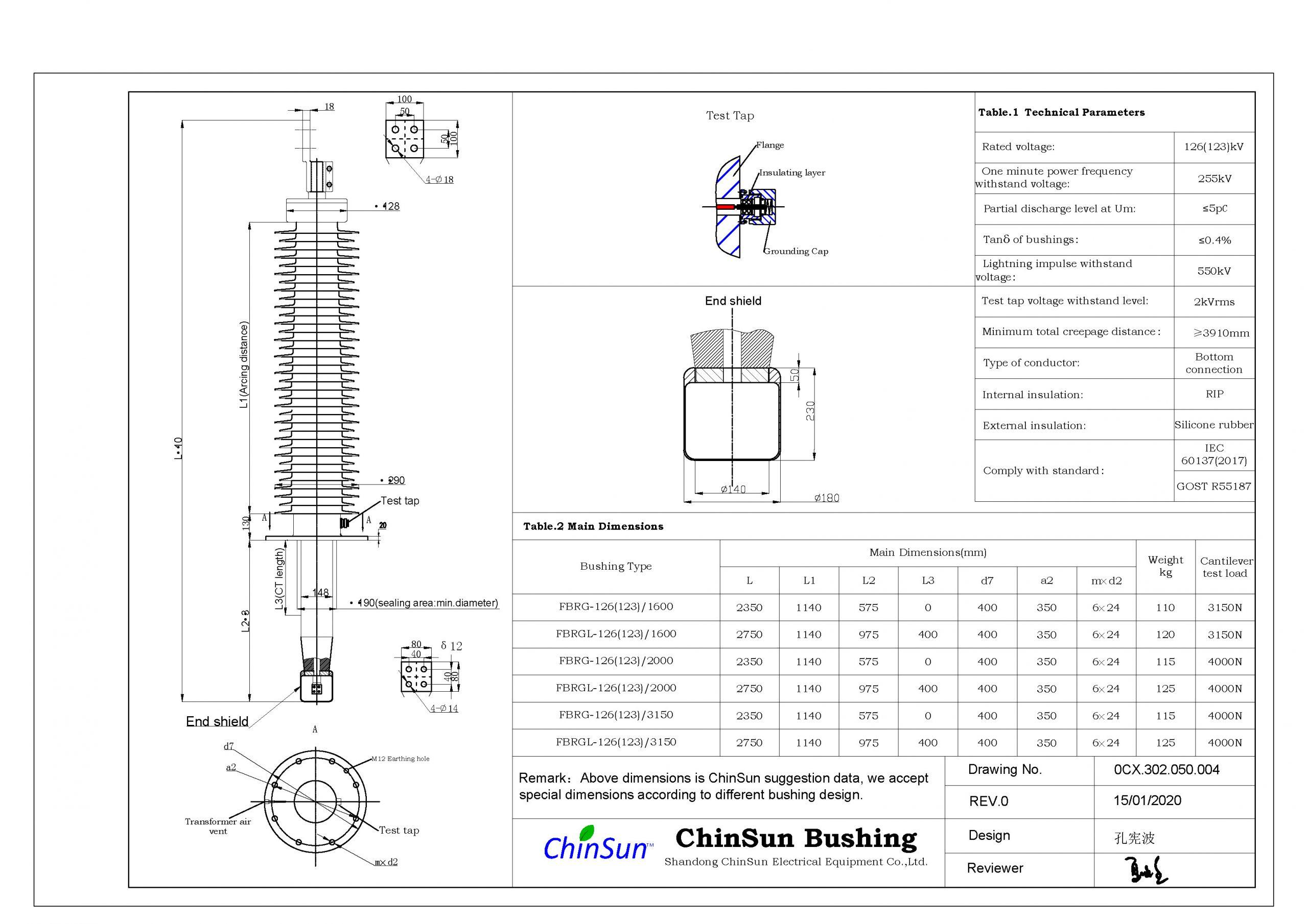 Drawing-transformer bushing-126(123)kV_Silicone rubber-BC-ChinSun