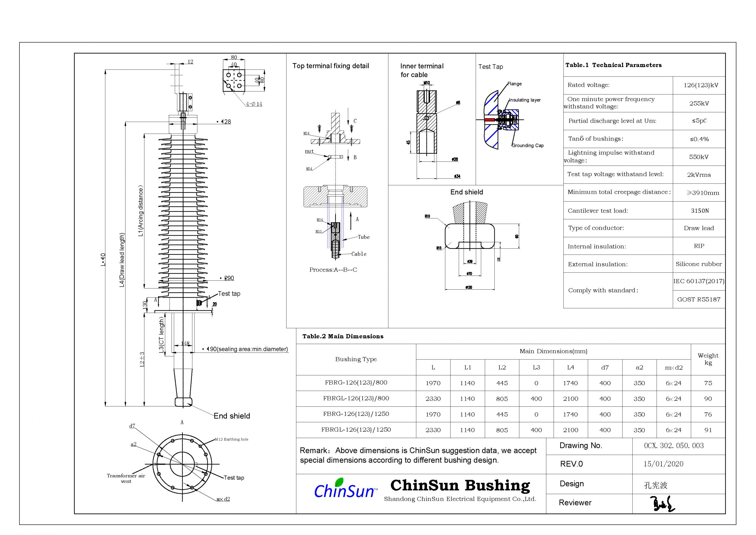 Drawing-transformer bushing-126(123)kV_silicone rubber-DL-ChinSun