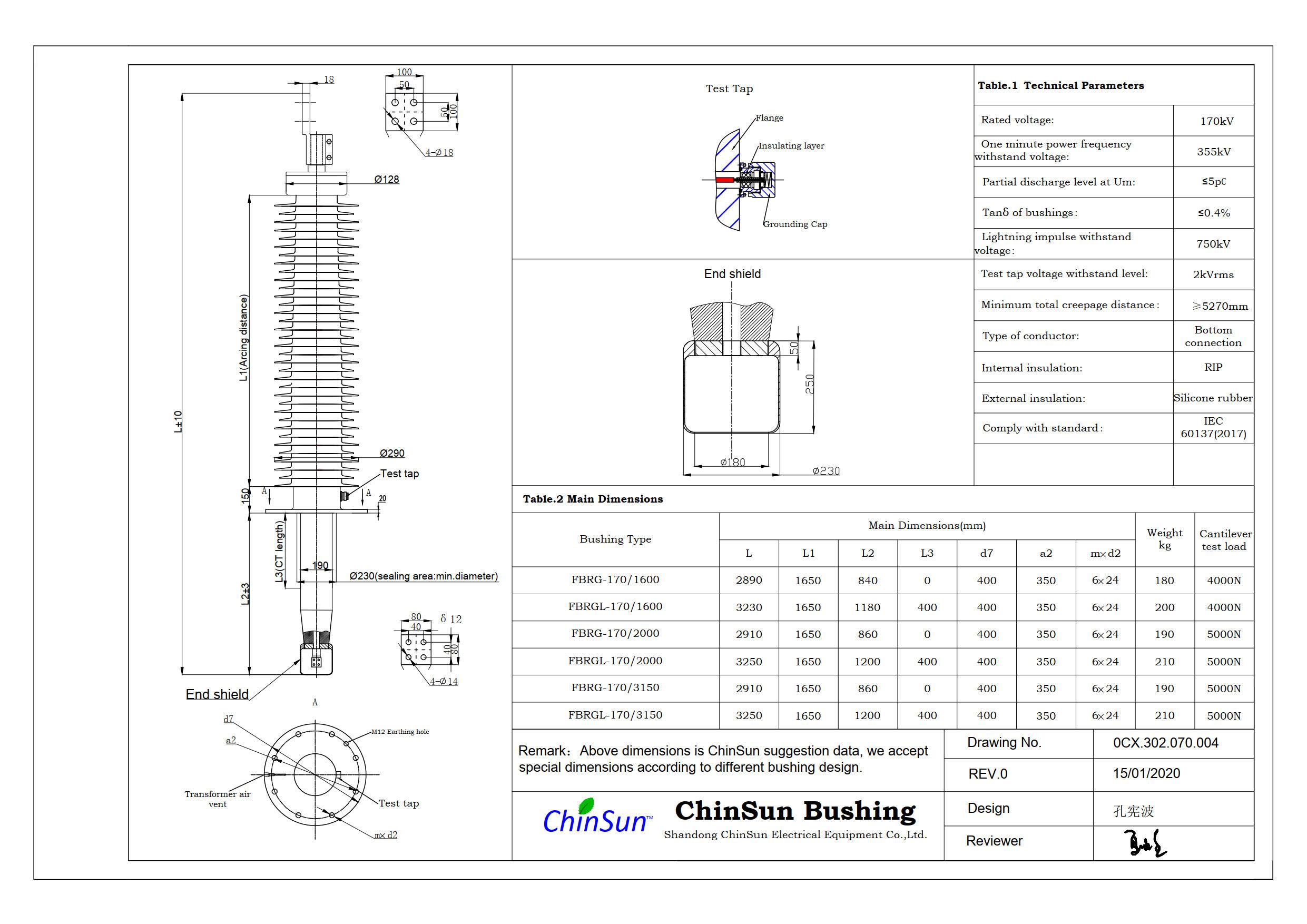 Drawing-transformer bushing-170kV_Silicone rubber-BC-ChinSun