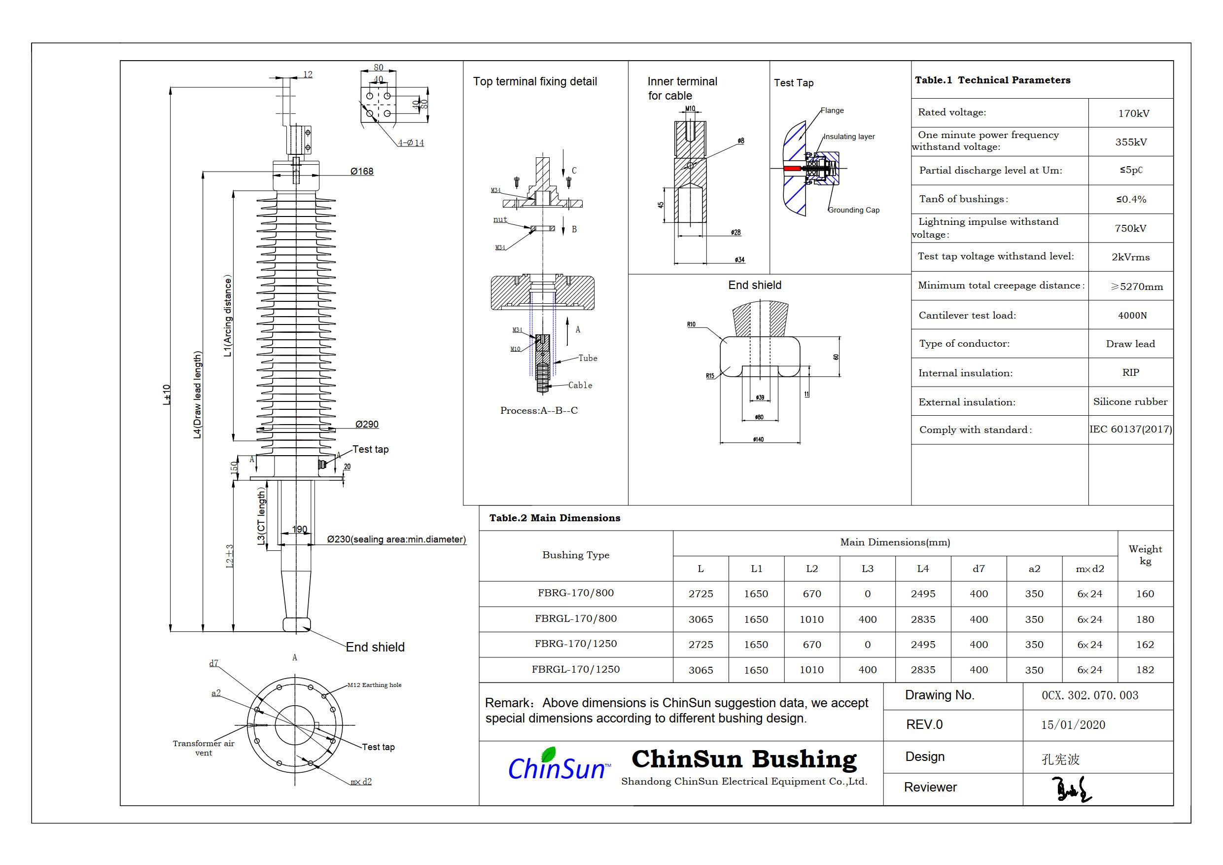 Drawing-transformer bushing-170kV_silicone rubber-DL-ChinSun