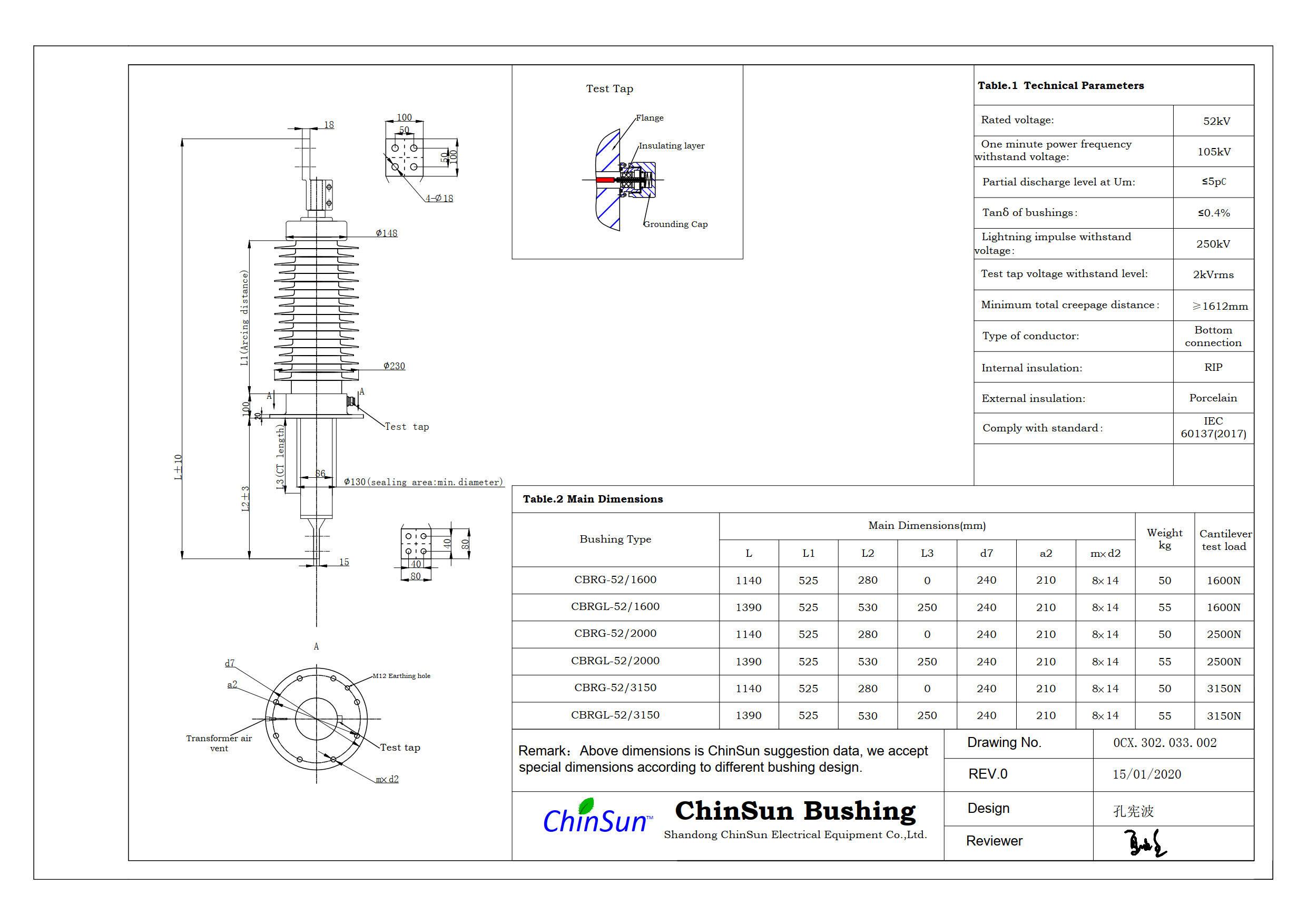 Drawing-transformer bushing-52kV_Porcelain-BC-ChinSun