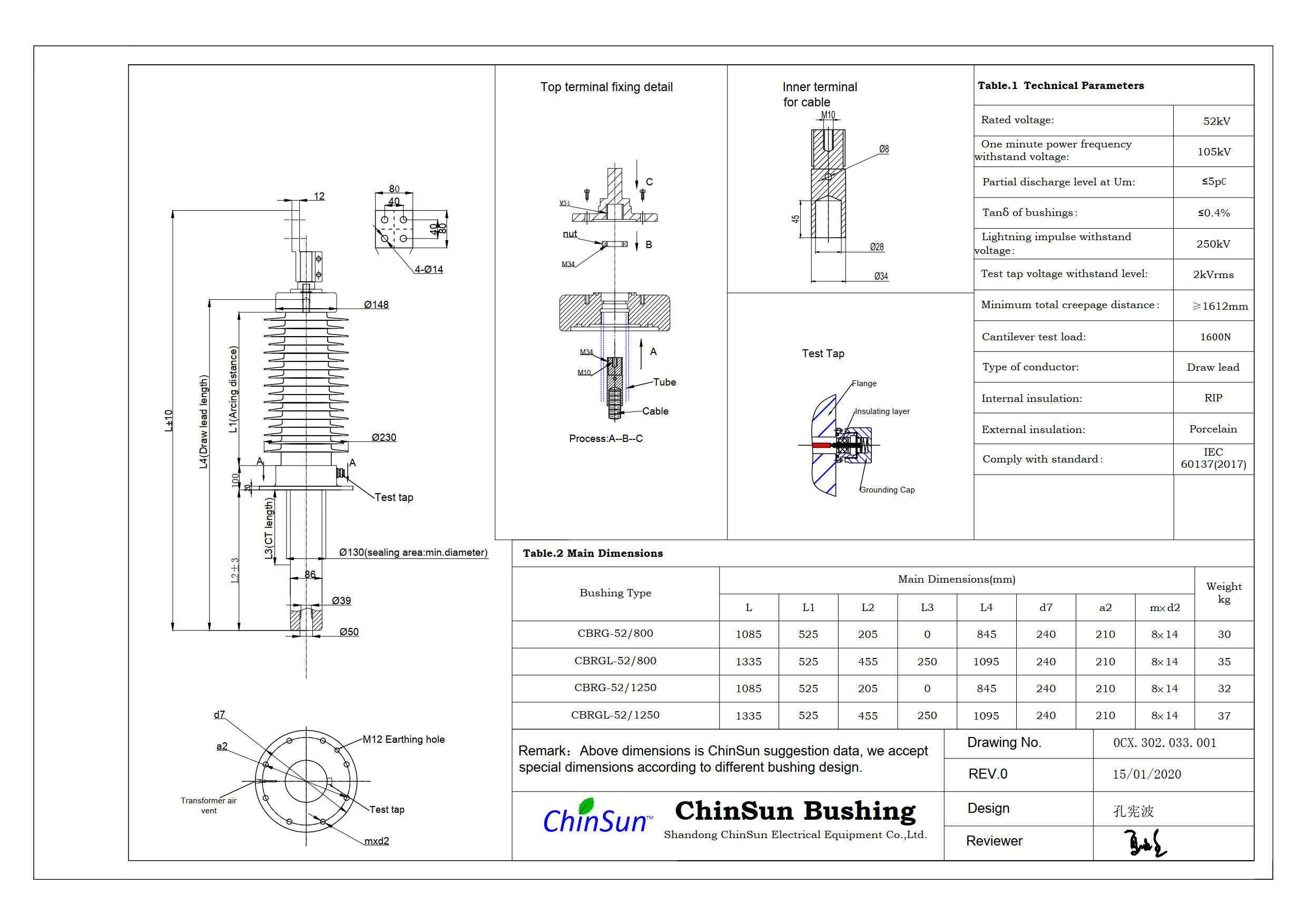 Drawing-transformer bushing-52kV_Porcelain-DL-ChinSun