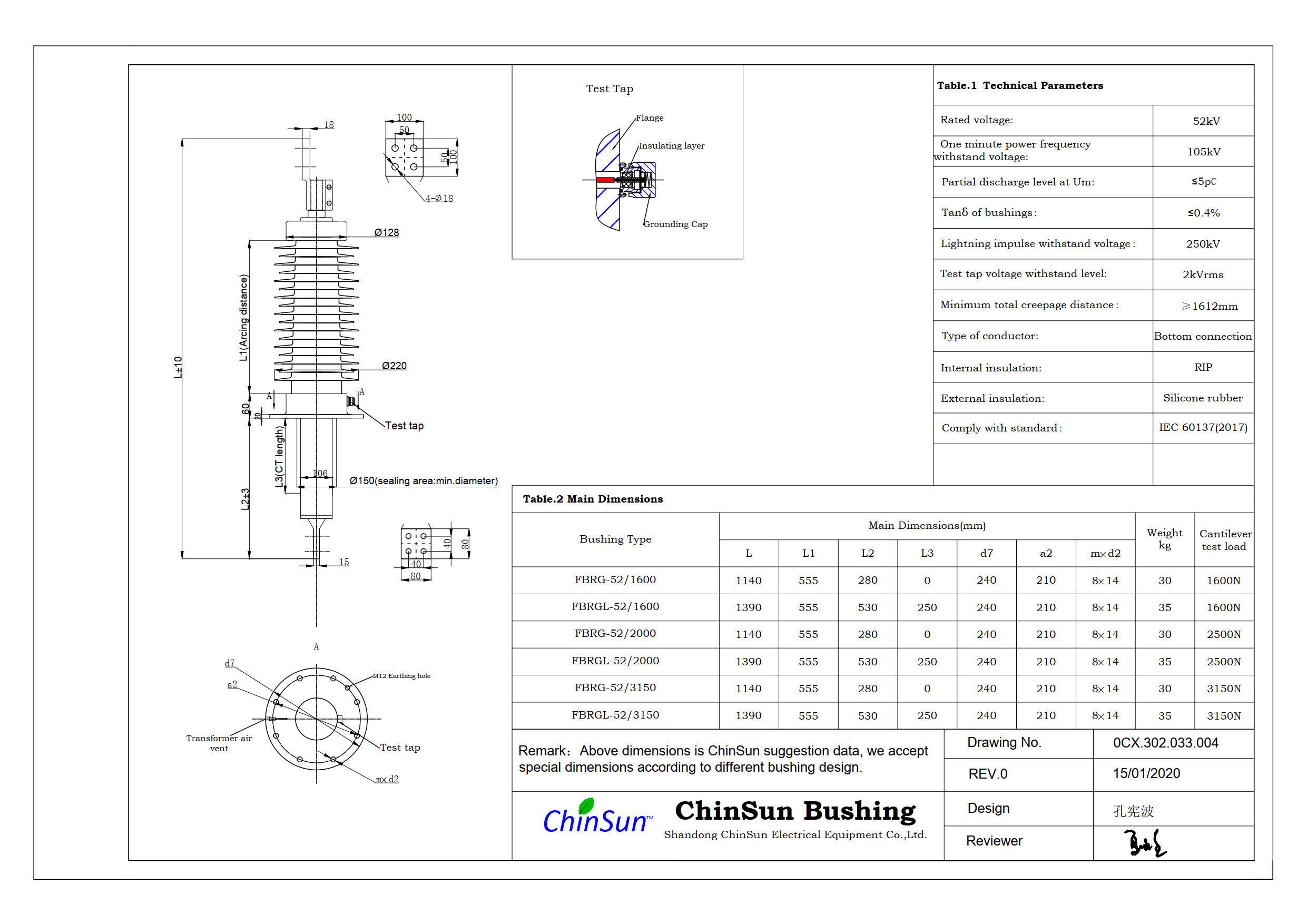 Drawing-transformer bushing-52kV_silicone rubber-BC-ChinSun