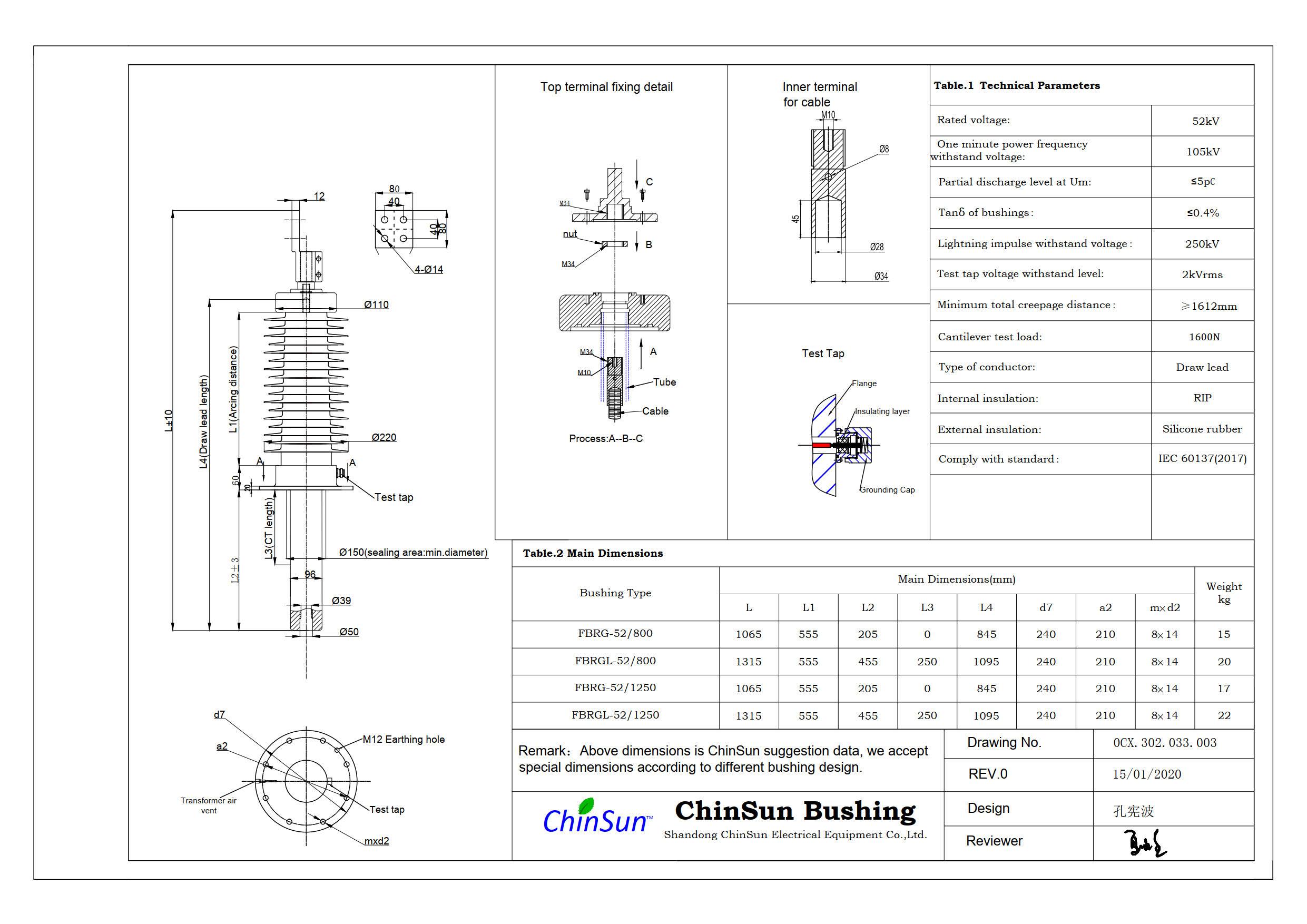 Drawing-transformer bushing-52kV_silicone rubber-DL-ChinSun