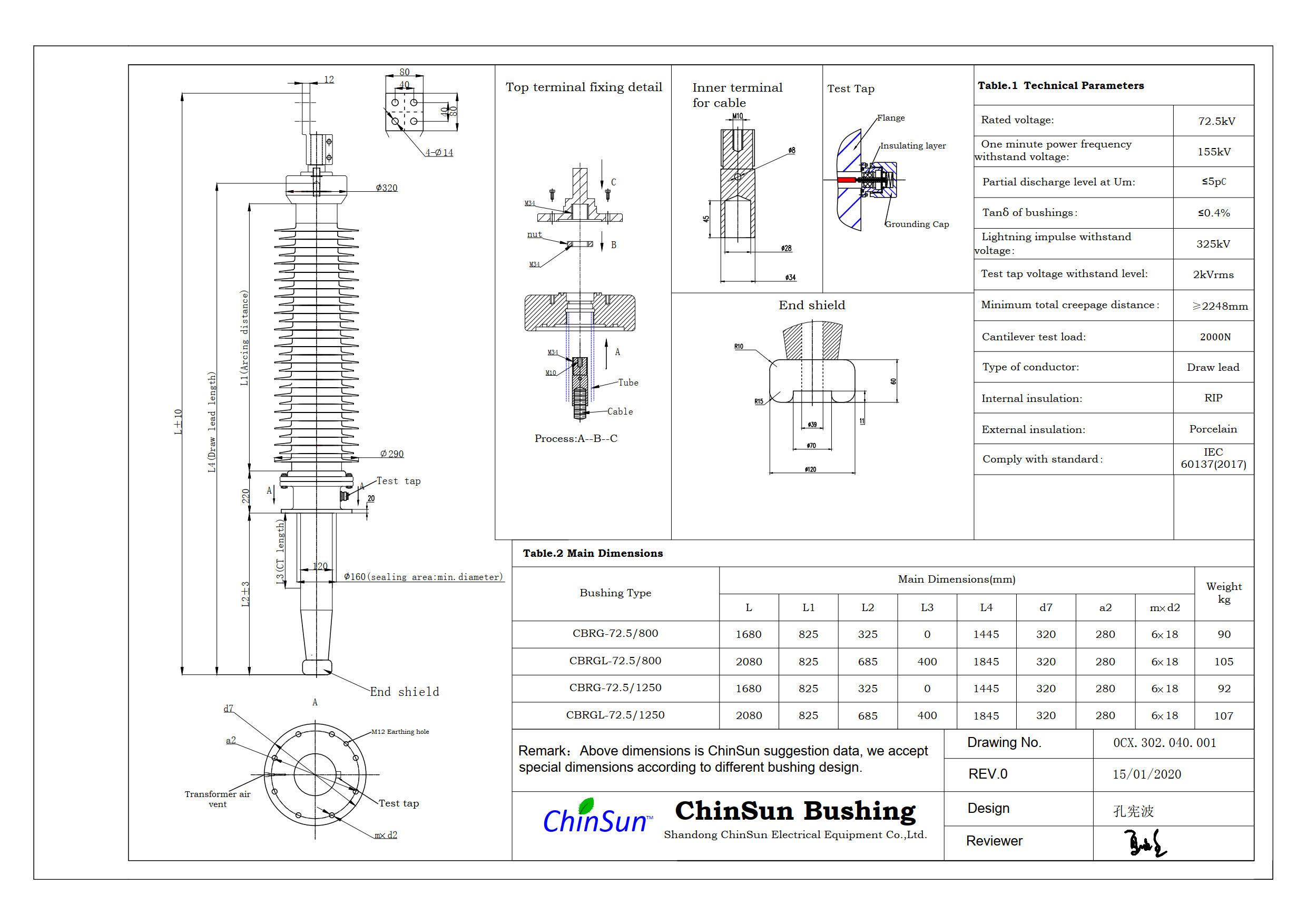 Drawing-transformer bushing-72.5kV_Porcelain-DL-ChinSun