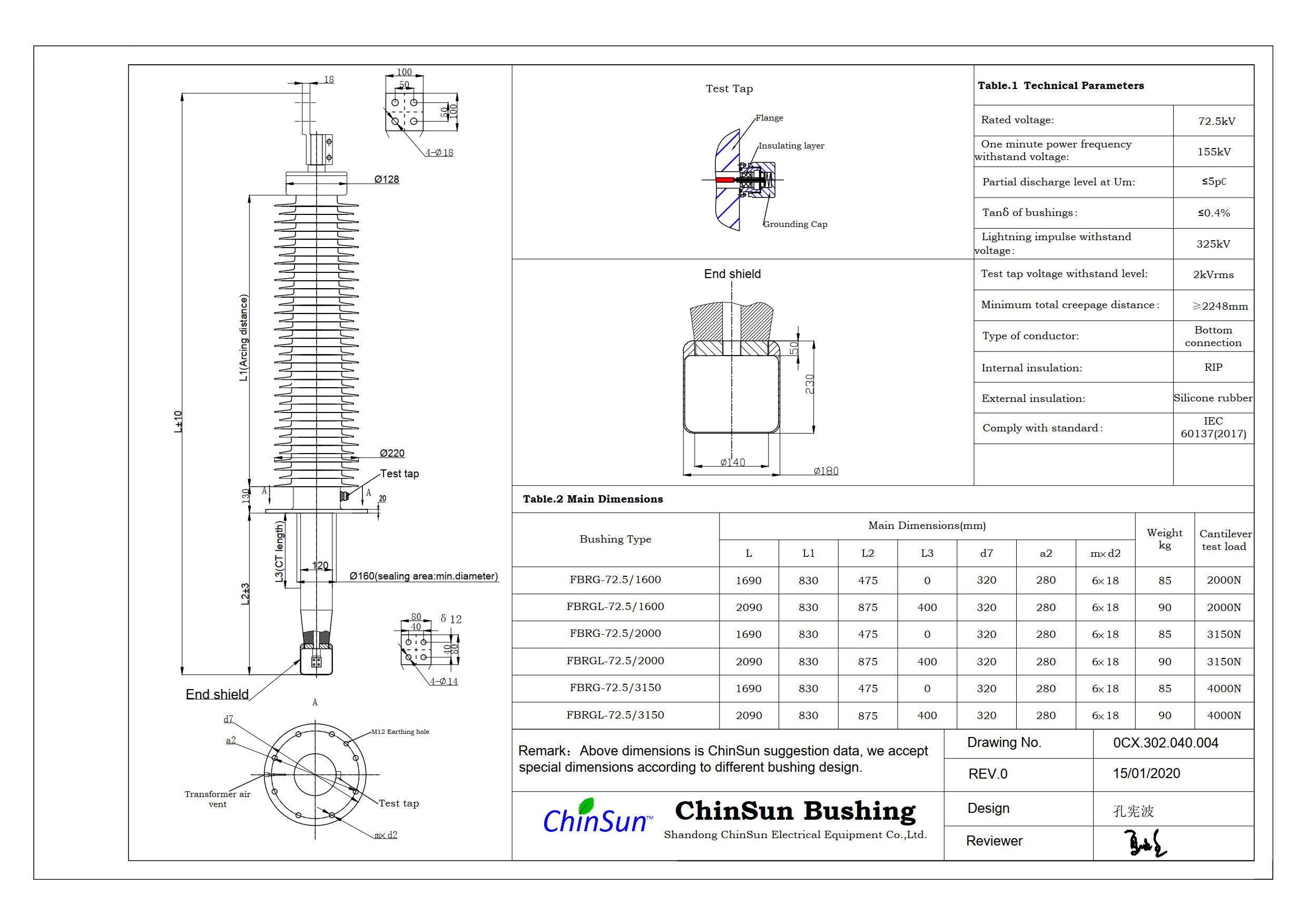 Drawing-transformer bushing-72.5kV_Silicone rubber-BC-ChinSun