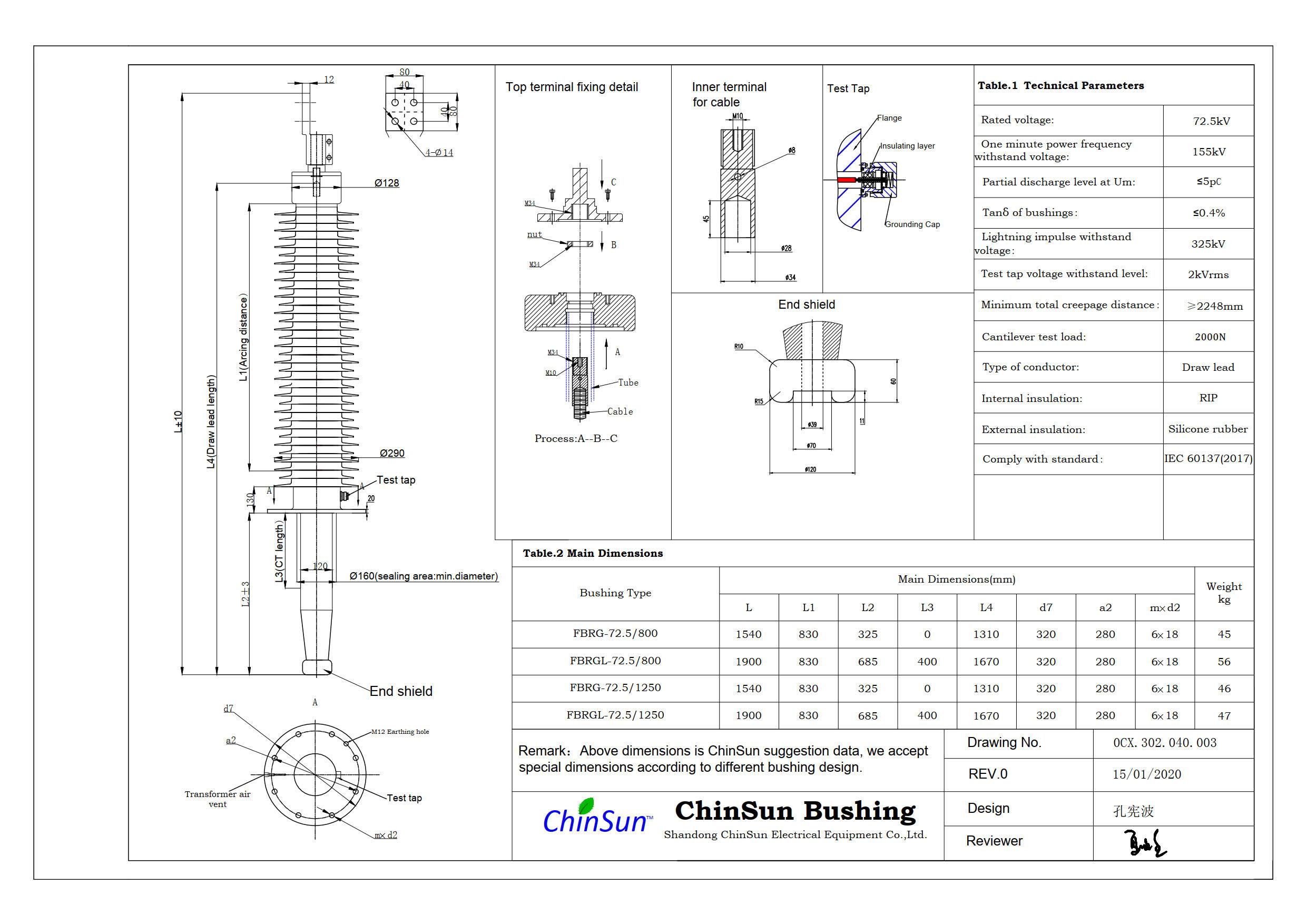 Drawing-transformer bushing-72.5kV_silicone rubber-DL-ChinSun