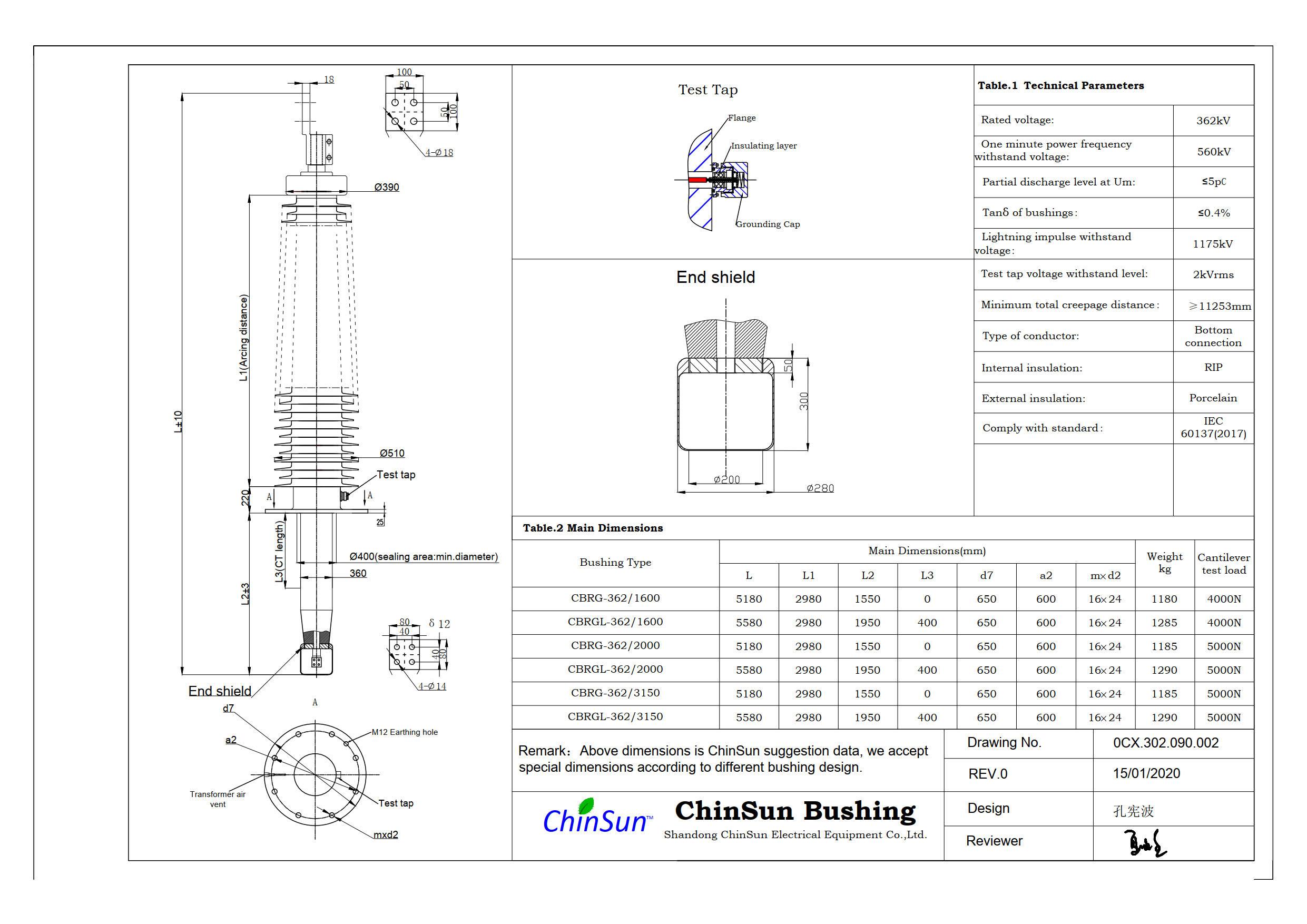 Drawing-transformer bushing-362kV porcelain-BC-ChinSun
