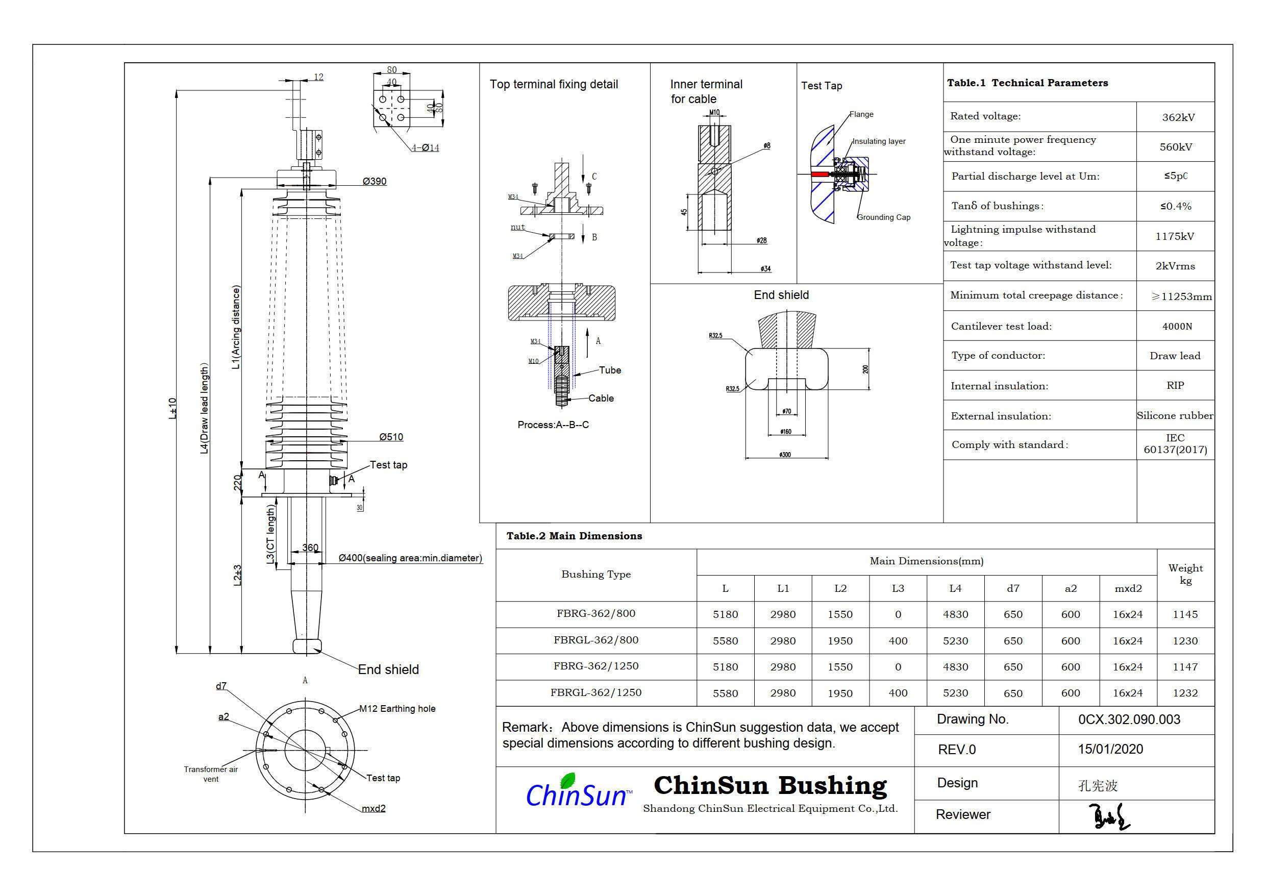 Drawing-transformer bushing-362kV_silicone rubber-DL-ChinSun