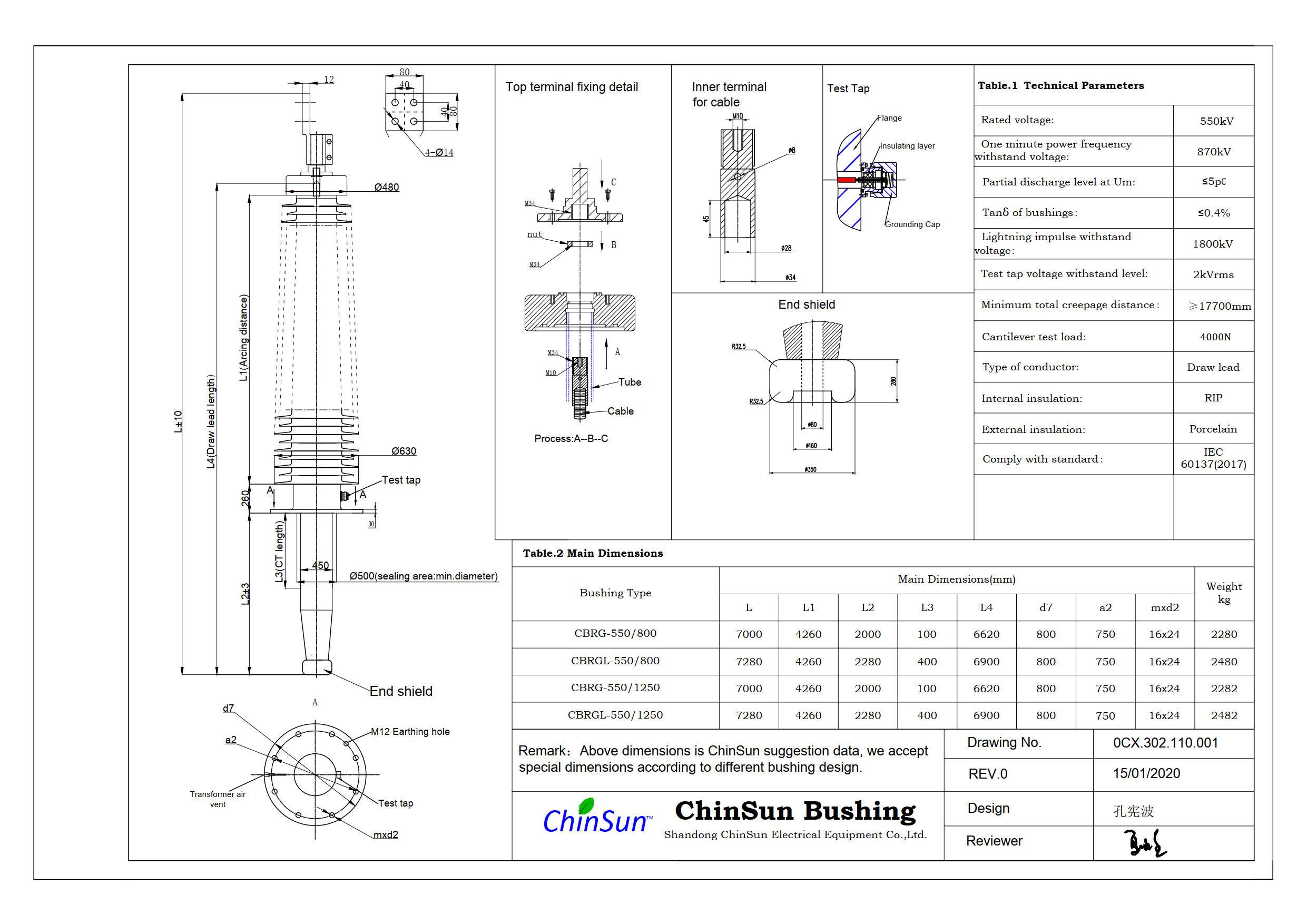 Drawing-transformer bushing-550kV_porcelain-DL-ChinSun